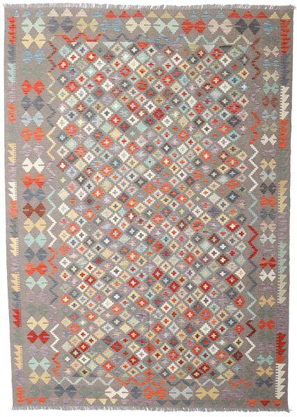 Kilim Afghan Old Style Tapis 207X290 D'orient Tissé À La Main Gris Clair/Beige (Laine, Afghanistan)
