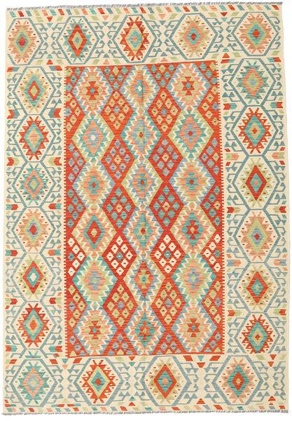 Kilim Afghan Old Style Tapis 209X298 D'orient Tissé À La Main Beige/Orange (Laine, Afghanistan)