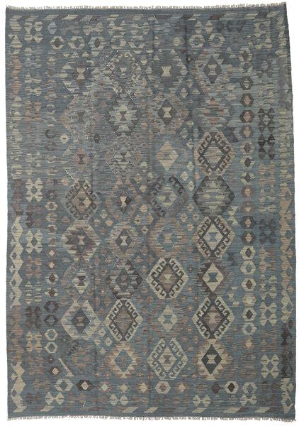 Kilim Afghan Old Style Tapis 208X292 D'orient Tissé À La Main Gris Foncé/Vert (Laine, Afghanistan)