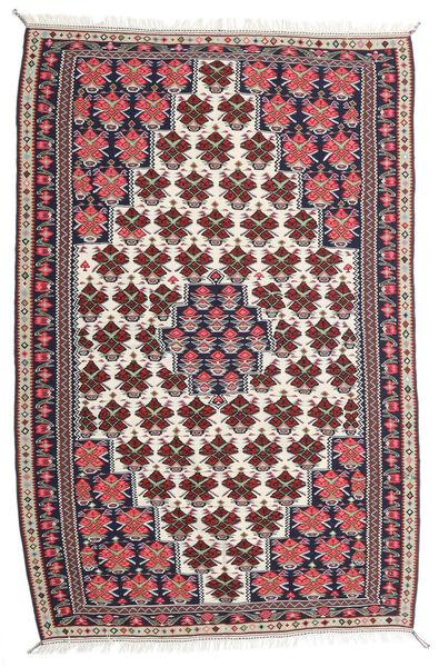 Kilim Senneh Tapis 150X220 D'orient Tissé À La Main Violet Foncé/Gris Clair (Laine, Perse/Iran)