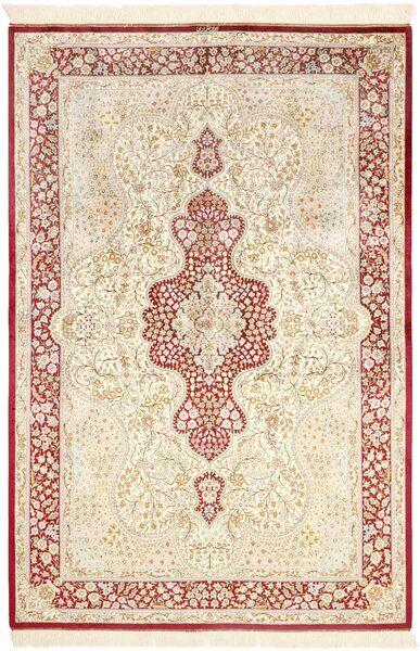 Ghom Soie Tapis 134X203 D'orient Fait Main Beige/Rose Clair (Soie, Perse/Iran)