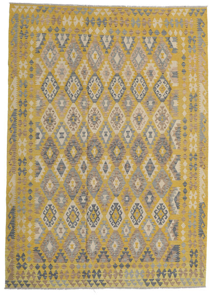 Kilim Afghan Old Style Tapis 206X297 D'orient Tissé À La Main Vert Olive/Gris Clair (Laine, Afghanistan)