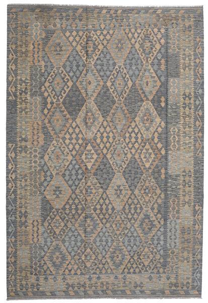 Kilim Afghan Old Style Tapis 203X306 D'orient Tissé À La Main Gris Clair/Gris Foncé (Laine, Afghanistan)