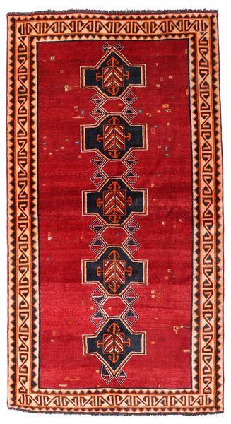 Shiraz Tapis 122X226 D'orient Fait Main Rouille/Rouge/Rouge Foncé (Laine, Perse/Iran)