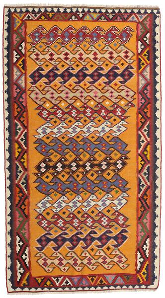 Kilim Vintage Tapis 142X256 D'orient Tissé À La Main Rouge Foncé/Orange (Laine, Perse/Iran)