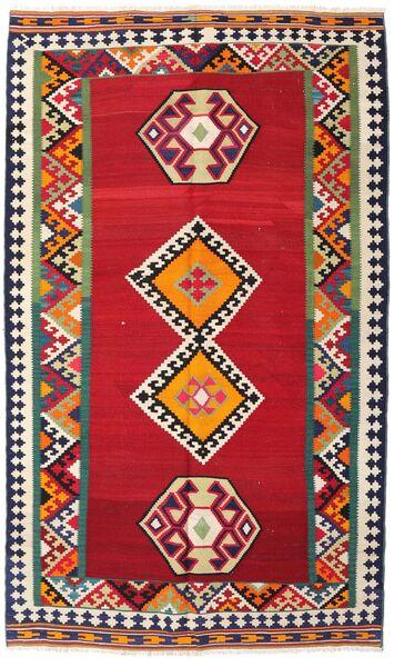 Kilim Vintage Tapis 143X250 D'orient Tissé À La Main Rouge/Gris Foncé (Laine, Perse/Iran)