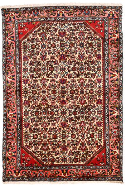 Hamadan Tapis 131X194 D'orient Fait Main Marron Foncé/Beige (Laine, Perse/Iran)