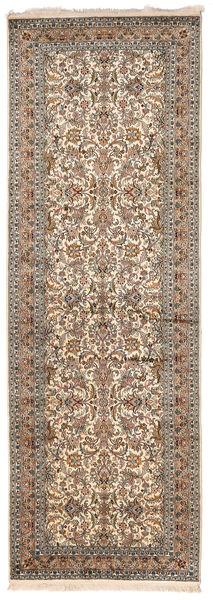 Cachemire Pure Soie Tapis 95X279 D'orient Fait Main Tapis Couloir Gris Clair/Marron Foncé (Soie, Inde)