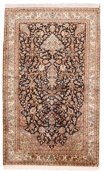 Cachemire Pure Soie Tapis 96X156 D'orient Fait Main Marron Foncé/Beige (Soie, Inde)