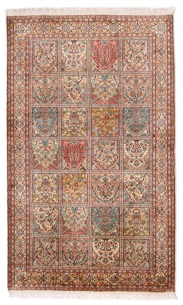 Cachemire Pure Soie Tapis 97X159 D'orient Fait Main Marron Foncé/Beige (Soie, Inde)