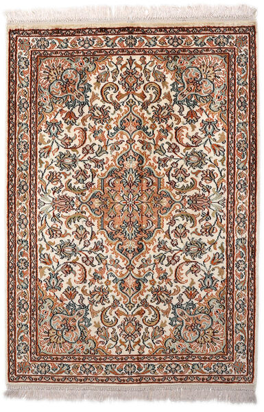 Cachemire Pure Soie Tapis 65X94 D'orient Fait Main Marron Clair/Marron Foncé (Soie, Inde)