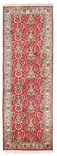 Cachemire Pure Soie Tapis 65X189 D'orient Fait Main Tapis Couloir Rouge Foncé/Beige (Soie, Inde)
