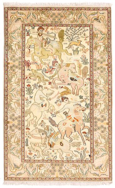 Cachemire Pure Soie Tapis 94X152 D'orient Fait Main Marron/Jaune (Soie, Inde)