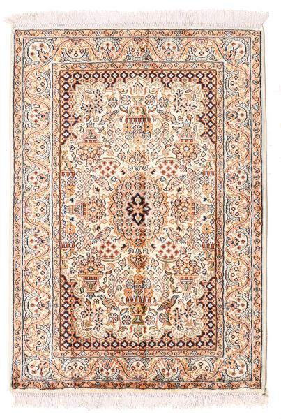 Cachemire Pure Soie Tapis 66X94 D'orient Fait Main Beige/Rose Clair (Soie, Inde)
