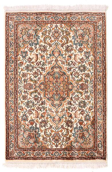 Cachemire Pure Soie Tapis 64X94 D'orient Fait Main Beige/Marron Foncé (Soie, Inde)