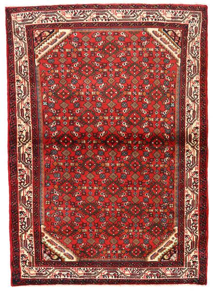 Hosseinabad Tapis 105X149 D'orient Fait Main Rouge Foncé/Marron Foncé (Laine, Perse/Iran)