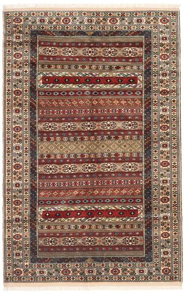 Turkaman Tapis 162X246 D'orient Fait Main Marron Foncé/Marron Clair (Laine, Perse/Iran)