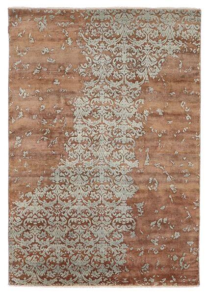 Damask Indo Tapis 172X245 Moderne Fait Main Marron/Gris Clair (Laine/Soie De Bambou, Inde)