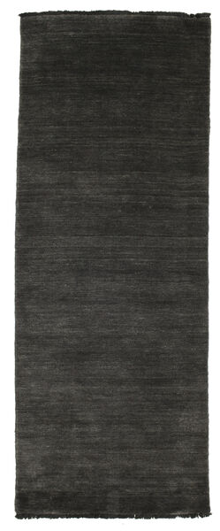Handloom Fringes - Secondaire Tapis 80X200 Moderne Tapis Couloir Noir/Beige (Laine, Inde)