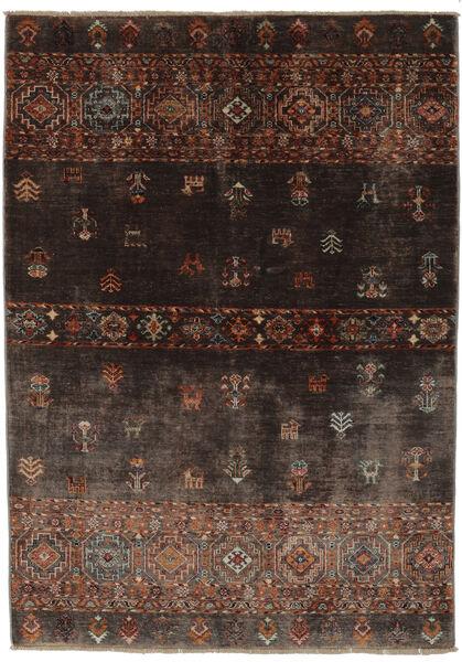 Shabargan Tapis 127X186 Moderne Fait Main Noir/Marron Foncé (Laine, Afghanistan)