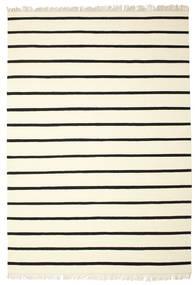 Dhurrie Stripe - Blanc/Noir Tapis 220X320 Moderne Tissé À La Main Beige/Blanc/Crème (Laine, Inde)