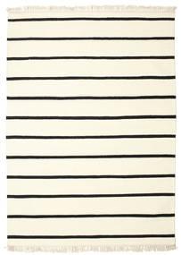 Dhurrie Stripe - Blanc/Noir Tapis 160X230 Moderne Tissé À La Main Beige/Blanc/Crème (Laine, Inde)