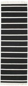 Dhurrie Stripe - Noir/Blanc Tapis 80X250 Moderne Tissé À La Main Tapis Couloir Noir/Blanc/Crème (Laine, Inde)