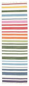 Rainbow Stripe - Blanc Tapis 80X250 Moderne Tissé À La Main Tapis Couloir Beige/Blanc/Crème (Coton, Inde)