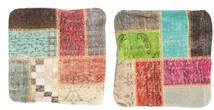 Patchwork Taie De Coussin Tapis 50X50 D'orient Fait Main Carré Marron Foncé/Vert Clair (Laine, Turquie)