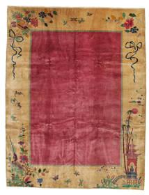 Chinois Antique: Art Deco 1920 Tapis 275X360 D'orient Fait Main Marron Clair/Rouge/Rouge Foncé Grand (Laine, Chine)