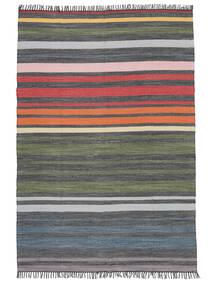 Rainbow Stripe - Gris Tapis 140X200 Moderne Tissé À La Main Gris Foncé/Vert Olive (Coton, Inde)