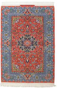 Ispahan Chaîne De Soie Signé: Haghighi Tapis 150X220 D'orient Fait Main Gris Foncé/Rouge Foncé (Laine/Soie, Perse/Iran)