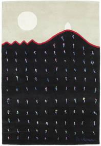 Landing Tapis 100X145 Moderne Fait Main Noir/Blanc/Crème (Laine, Inde)