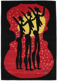 Dance Tapis 135X190 Moderne Fait Main Noir/Rouge (Laine, Inde)