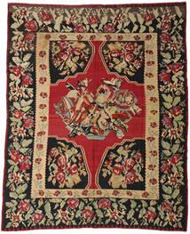 Kilim Semi-Antique Tapis 287X355 D'orient Tissé À La Main Rouge Foncé/Noir Grand (Laine, Slovénie)