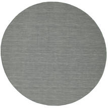 Kilim Loom - Gris Foncé Tapis Ø 300 Moderne Tissé À La Main Rond Gris Clair/Vert Foncé Grand (Laine, Inde)