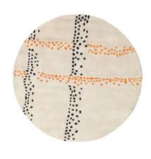 Delight Handtufted - Orange Tapis Ø 150 Moderne Rond Beige/Gris Clair (Laine, Inde)