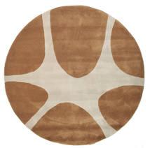 Stones Handtufted - Marron Tapis Ø 150 Moderne Rond Marron/Gris Clair (Laine, Inde)