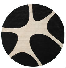 Stones Handtufted - Noir Tapis Ø 300 Moderne Rond Noir/Gris Clair Grand (Laine, Inde)