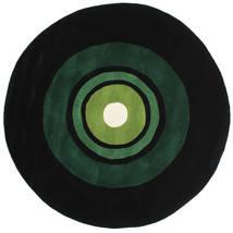 Schallplatte Handtufted Tapis Ø 150 Moderne Rond Vert Foncé (Laine, Inde)
