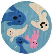 Spoky Tapis Ø 150 Moderne Rond Bleu Turquoise/Beige (Laine, Inde)