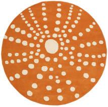 Sjöborre Handtufted - Orange Tapis Ø 150 Moderne Rond Marron Clair/Orange (Laine, Inde)