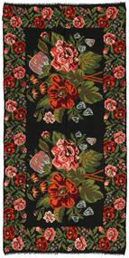 Kilim Rose Tapis 158X315 D'orient Tissé À La Main Noir/Vert Foncé (Laine, Moldavie)
