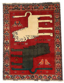 Ghashghaï Figural/Pictural Tapis 133X172 D'orient Fait Main Rouille/Rouge/Gris Foncé (Laine, Perse/Iran)