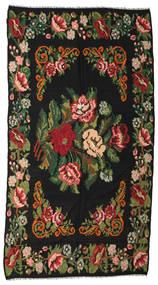 Kilim Rose Moldavia Tapis 176X338 D'orient Tissé À La Main Noir/Vert Foncé (Laine, Moldavie)