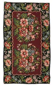 Kilim Rose Moldavia Tapis 152X270 D'orient Tissé À La Main Rouge Foncé/Marron Foncé (Laine, Moldavie)