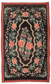 Kilim Rose Moldavia Tapis 166X268 D'orient Tissé À La Main Noir/Gris Foncé (Laine, Moldavie)