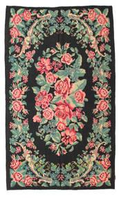 Kilim Rose Moldavia Tapis 154X288 D'orient Tissé À La Main Noir/Vert Pastel (Laine, Moldavie)