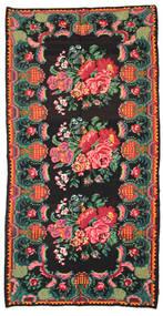 Kilim Rose Moldavia Tapis 186X360 D'orient Tissé À La Main Noir/Turquoise Foncé (Laine, Moldavie)