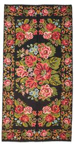 Kilim Rose Moldavia Tapis 198X400 D'orient Tissé À La Main Noir/Marron Foncé (Laine, Moldavie)